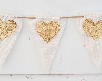 Gold Burlap Heart Banner, Valentines Burlap Banner, Glitter Gold Heart Banner, Valentine Photo Prop B006