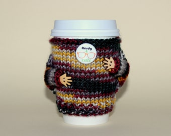 Nerdy Coffee cozy. Travel mug cozy. Knitted cup sweater. Coffee sleeve. Coworker gift. Boyfriend gift. Cup sleeve. Coffee sleeve.