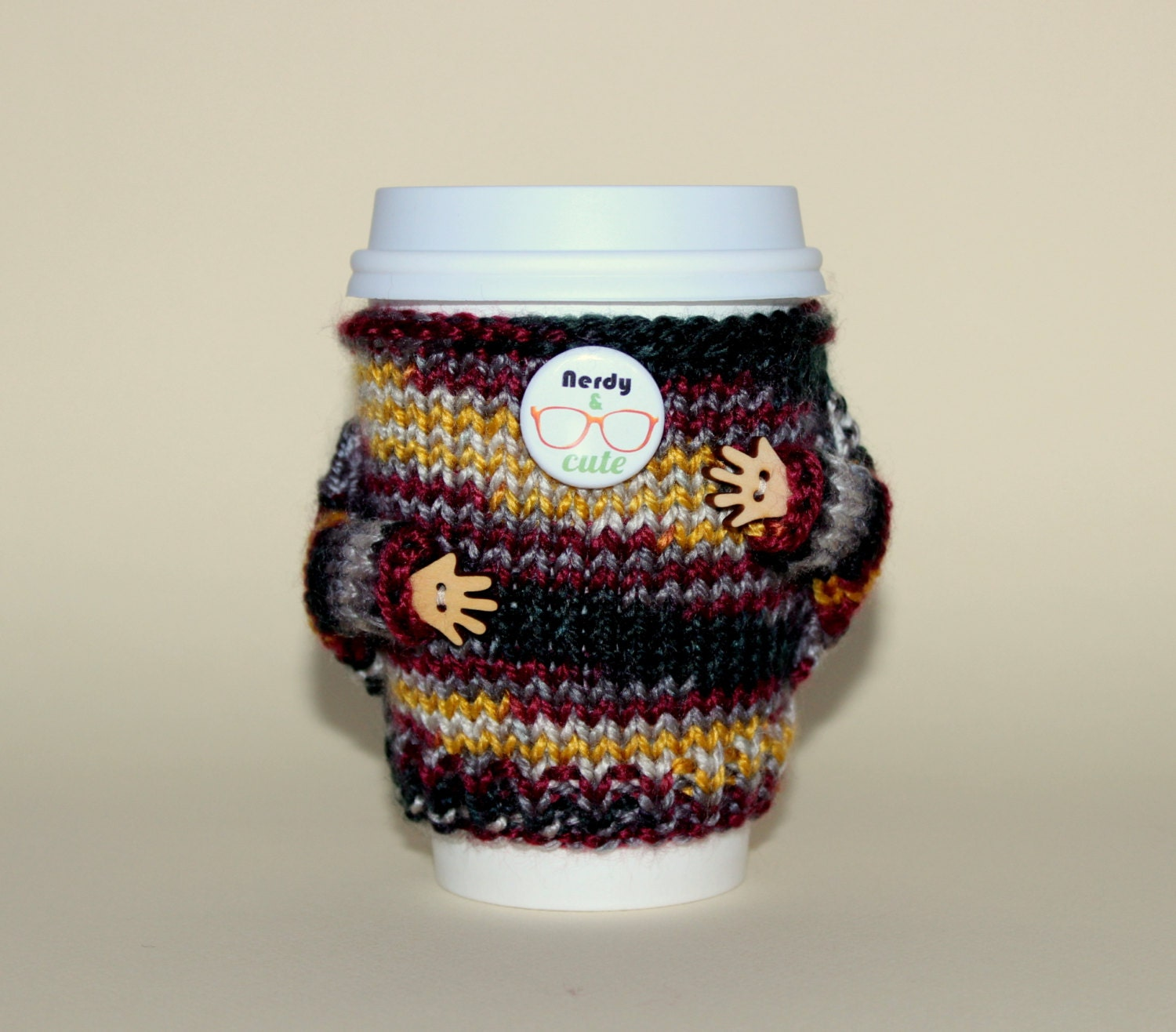 Nerdy Coffee cozy. Travel mug cozy. Knitted cup sweater.