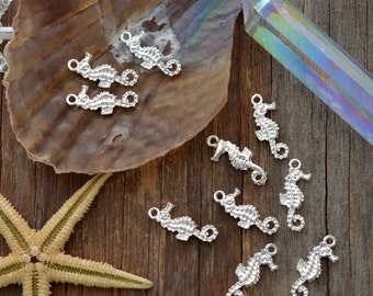 Sterling Silver (Plate) Seahorse Charms, 10x23mm, 2pcs / Nunn Designs, Shell Pendants, Nautical, Beach Charms, Sea Shell, Jewelry Supplies
