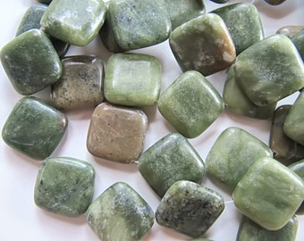 25 Natural Green Serpentine Beads, Flat Square, 20mm x 20mm, Polished Gemstones