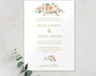 Peach Blush Wedding, Blush Wedding Invitation Template, Gold Blush, Gold Wedding Invitation Template, Gold Wedding Invite, Elegant Invite