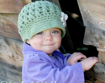 Cotton Baby Hat Newsboy Cap with flower Sizes Newborn to 5T You Choose colors and Size