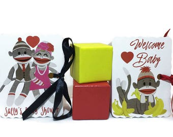 Sock Monkey Party Favors | Favor Treat Boxes | Birthday Boy Girl Baby Shower | Goodie Mini Book Boxes | Personalized Customized 16