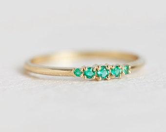 Emerald Ring, Emerald Wedding Band, Green Wedding Ring, Green Wedding Band, Yellow Gold Ring with Emeralds, Five Stone ring, gemstone ring