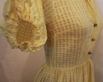 Vintage 1950s Yellow Dress with Puffy Melon Sleeves Georgette