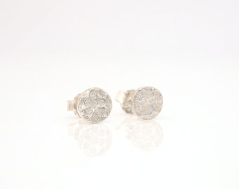 WINTER LAKE round circle studs - Hammered & Textured 925 Sterling Silver Stud Earrings, also available in 9 carat gold
