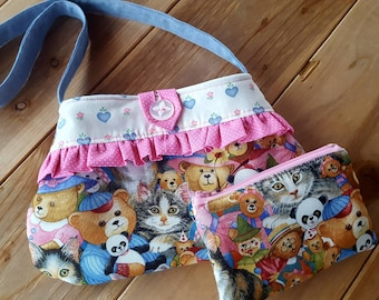 Kitty Toddler Purse,  Teddy Bear Purse, Girls Cat Purse, First Purse, Easter Purse, Flower Girl Purse, Toddler Teddy Bear Purse