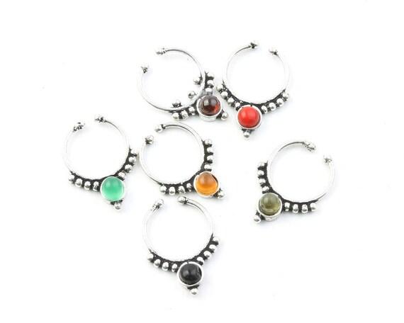 Faux Septum Ring, Fake Septum Ring, Faux Nose Ring, Gemstone Septum, Body Jewelry, Tribal Septum Ring, Indian Nose Ring, Stone Septum, Boho