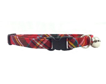 Classic Red Tartan/Plaid Breakaway Cat or Kitten Collar