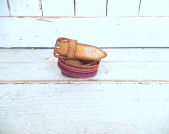 Striped vintage Guatemalan woven knit leather belt/tan leather belt/tribal cloth leather belt/small/medium