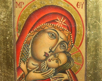 Christian Orthodox hand painted icon Virgin Mary & Christ Child
