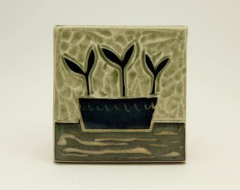 Seedlings-3x3 ceramic tile- Ruchika Madan