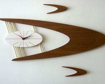 Exclusive MCM Boomerang Wall Clock and Satellite Set, Mid-Century Danish Modern Walnut