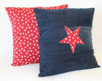 Set of 2, Blue Denim Pillow Cover, Red Star Pillow Cover, 18x18 Cushion Cover, Rustic, Accent Pillows, Handmade Pillow Covers