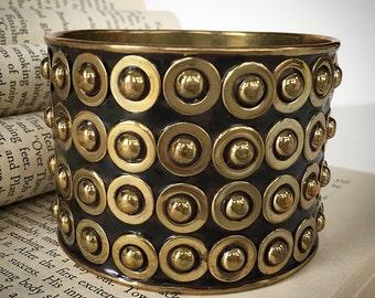 Large Vintage Bronze Beaded Bangle Bracelet