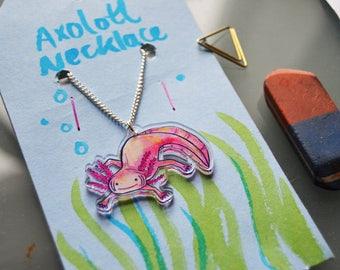 """Axolotl - 18"""" Silver  / Acrylic Necklace."""