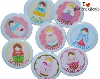 10 x large pins matryoshka name personalized JGA birthday name button set