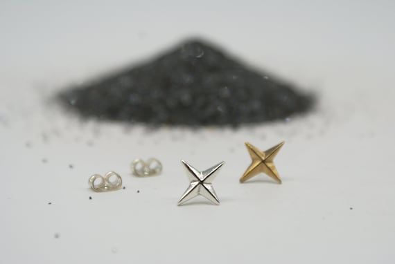 Compass Rose stud earrings - bronze or silver