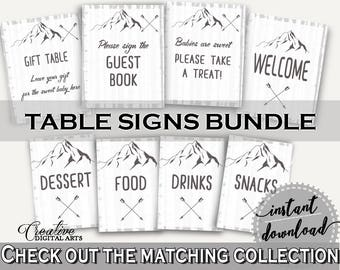 Table Signs Baby Shower Table Signs Adventure Mountain Baby Shower Table Signs Gray White Baby Shower Adventure Mountain Table Signs - S67CJ