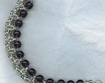 Byzantine Crown Bracelet in Argentium Sterling Silver with glass beads
