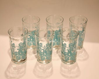 Beautiful set of 6 teal vintage drinking glasses