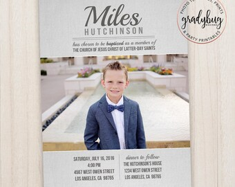 LDS Baptism Invitation, Boys Baptism Announcement, grey, Great to be 8, CTR, Lds Baptism Boy, Baptism Invite, Baptism Card, Lds Primary