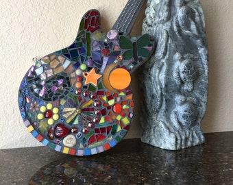 Stained Glass Mosaic Guitar by Artist Peggy Goodrow