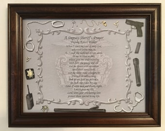 A Deputy Sheriff's Prayer, Gift For Deputy, Personalized, For Dad, Husband, Son, Father's Day, Birthday, Law Enforcement, Frame Included