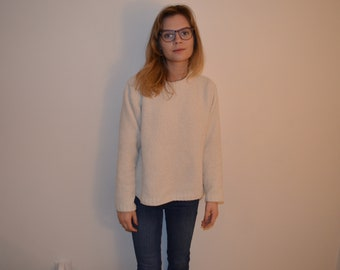 white chenille sweater