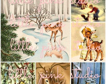 Woodland Christmas collage sheet (printable, digital download)
