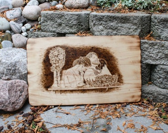 Wood Burned Photos Custom Portrait Wedding photos Pyrography art Family Anniversary Memorial Photo Gift ideas Pet pictures retirement gift