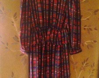 80s abstract design dress by L Rothschild, San Francisco