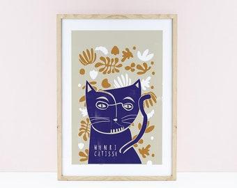 Henri Catisse Cat Print