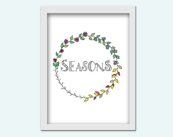 "Seasons - hand lettering, watercolor - digital print / instant download / 5 ""x 7"" and 8 ""x 10"" / PDF and JPG / home decor /."