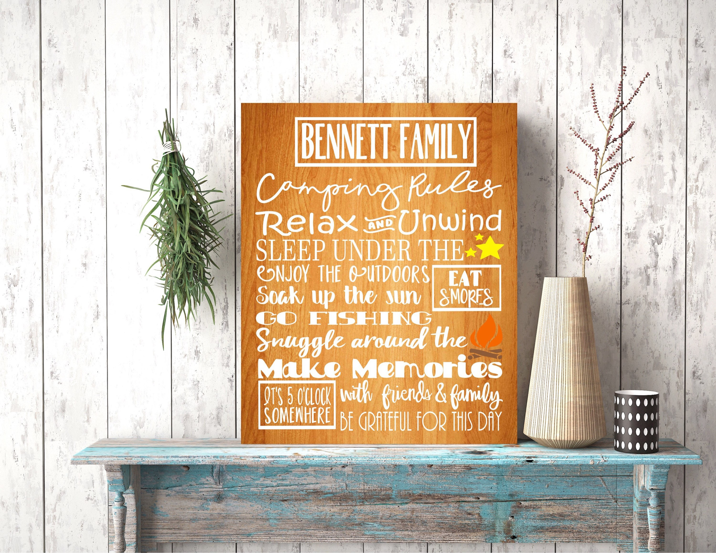 CAMPING RULES RUSTIC Wood Glamping Outdoor Decor Sign