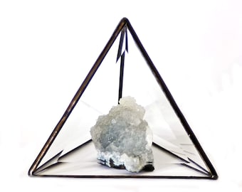 "Large Pyramid Display Box. Stained Glass Pyramid Display. Chakra Healing Pyramid. Crystal Pyramid Display. 6"" Pyramid. Boho Home Decor Style"