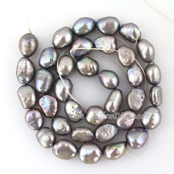 Grey Pearl Beads: 8-9MM Baroque Pearl BeadsHigh Quality Pure Freshwater Natural