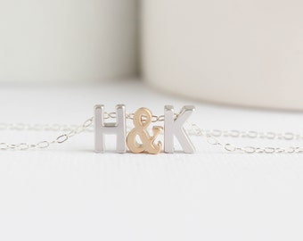 Silver Initial Necklace, Silver Upper Case Letter, Couples Necklace, Love Necklace, Gold Love Letters Necklace