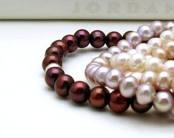 Garnet Pearl Modern Beaded Bracelet Delicate Garnet Pearl Bracelet Stretch Bracelet Under 35