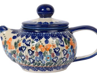 BCV Polish Pottery Hand Painted 2-Cup Ceramic Teapot with removable infuser 0.5 litre 019-U-099