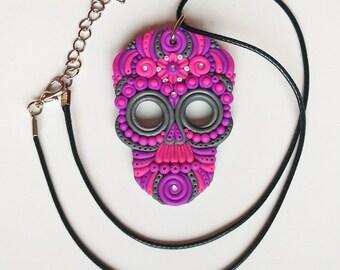 Sugar Skull Pendant, Pink Mexican Skull Necklace, Calavera Mexico Catrina Dia de los Muertos, Polymer clay jewelry