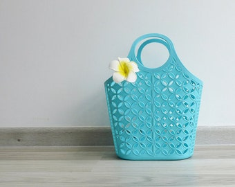 Vintage 80's Sky Blue Plastic Jelly Shopping Basket Bag