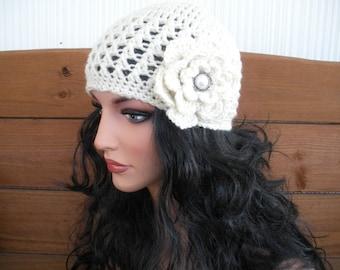 Crochet Hat Womens Hat Winter Fashion Accessories Women Beanie Hat Ecru/Cream with Crochet Flower - Choose color