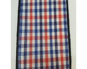"2.5"" Patriotic Gingham: Navy Wired Edge (10 Yards)"