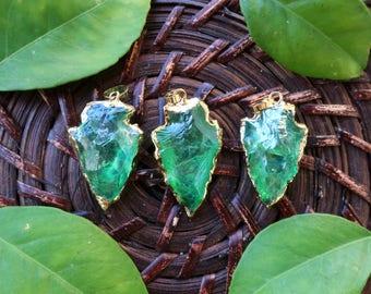 1pc Green Apple Quartz Arrowhead Pendant, gold plated | gemstone pendant | crystal pendant | pendant supplies | quartz pendant | #GPEN-401