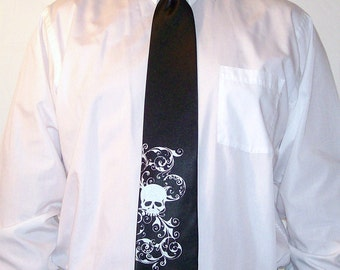 RokGear Skull necktie print - 7 Men's Wedding neckties - print to order in colors or your choice
