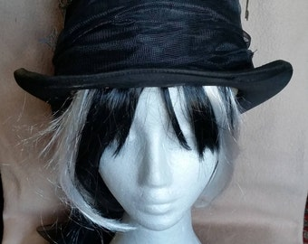 Reduced!!! Very old chapeau Claque steampunked! Unique!!