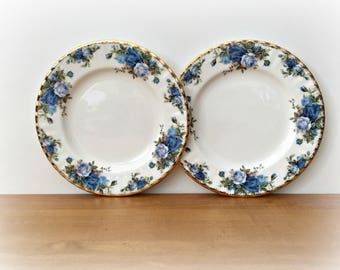 "Royal Albert Midnight Rose 8 1/4"" Salad Plates"