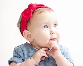 Baby Knot Headband, Baby Turban Headband, Baby Headwrap, Turban Headband, Toddler Knotted Headband, Baby Gift, Baby Headband - Solid Red